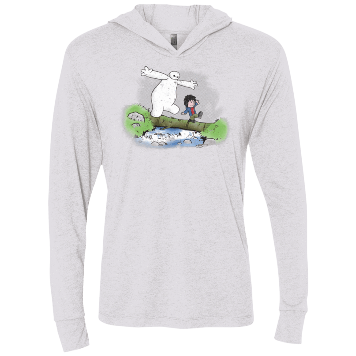 Baymax And Hiro Triblend Long Sleeve Hoodie Tee