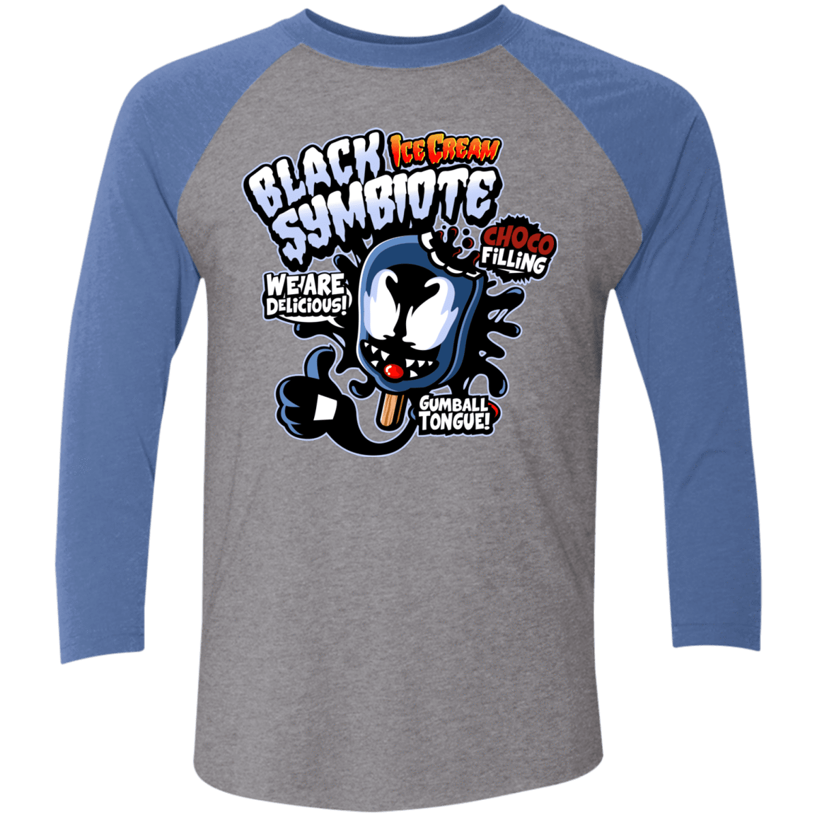Black Symbiote Ice Cream Men's Triblend 3/4 Sleeve