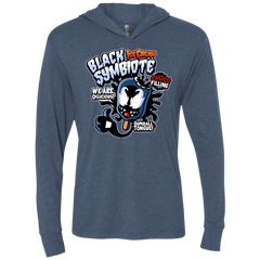 Black Symbiote Ice Cream Triblend Long Sleeve Hoodie Tee