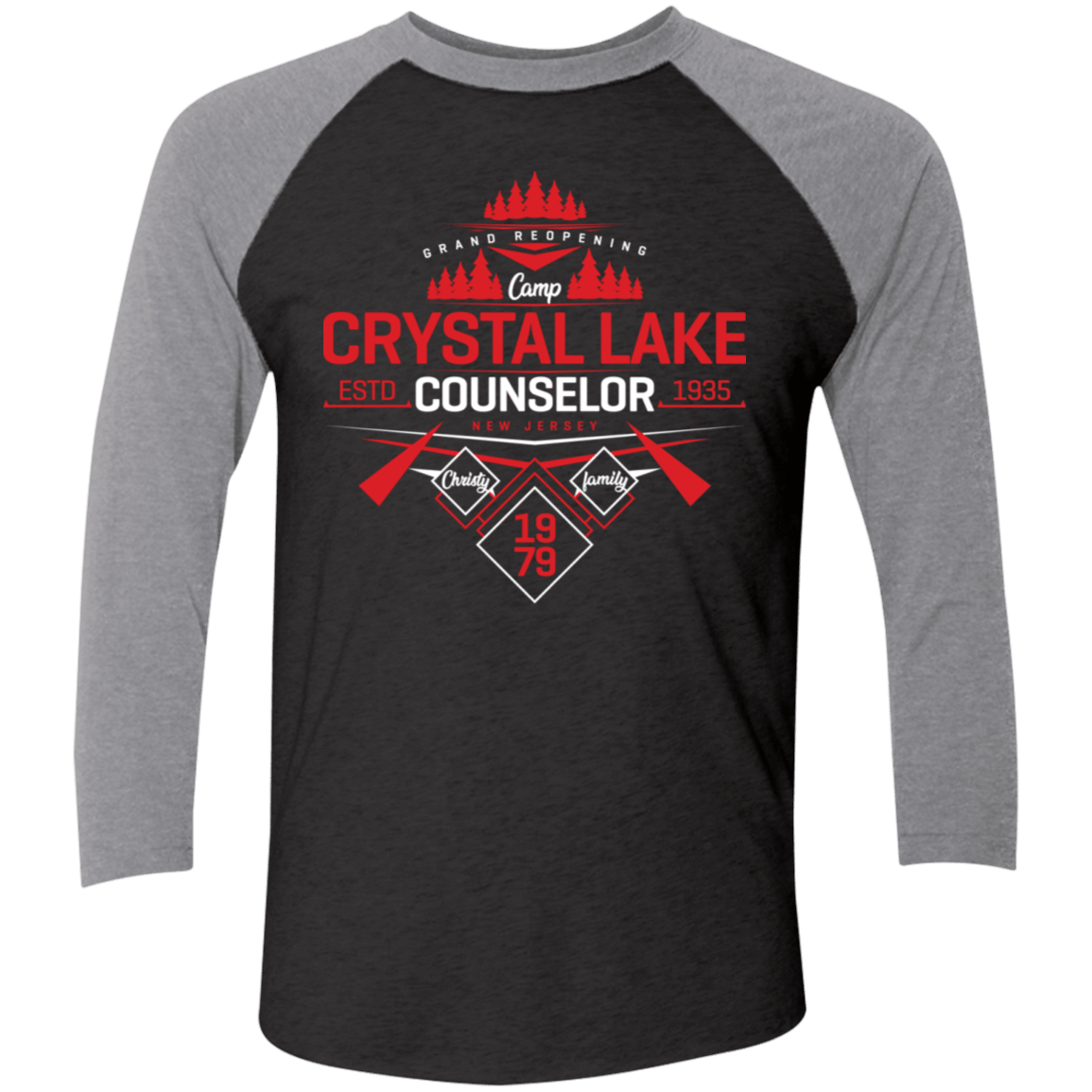 T-Shirts Vintage Black/Premium Heather / X-Small Crystal Lake Counselor Men's Triblend 3/4 Sleeve
