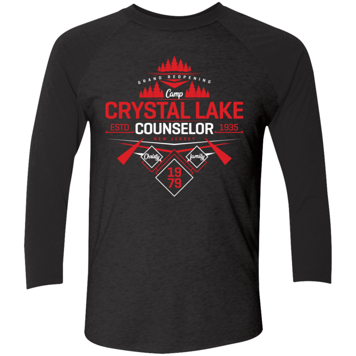T-Shirts Vintage Black/Vintage Black / X-Small Crystal Lake Counselor Men's Triblend 3/4 Sleeve