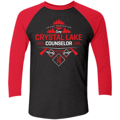 T-Shirts Vintage Black/Vintage Red / X-Small Crystal Lake Counselor Men's Triblend 3/4 Sleeve