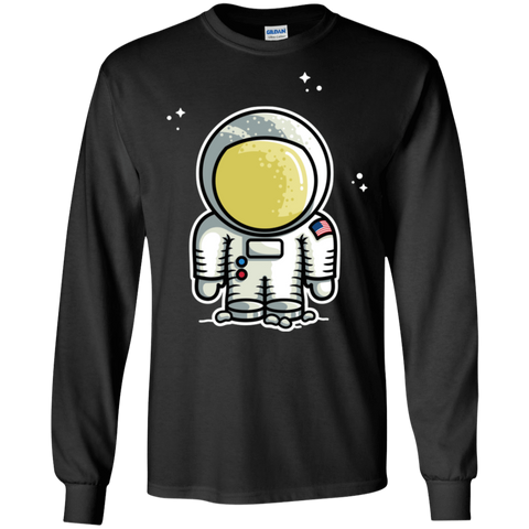 T-Shirts Black / S Cute Astronaut Men's Long Sleeve T-Shirt