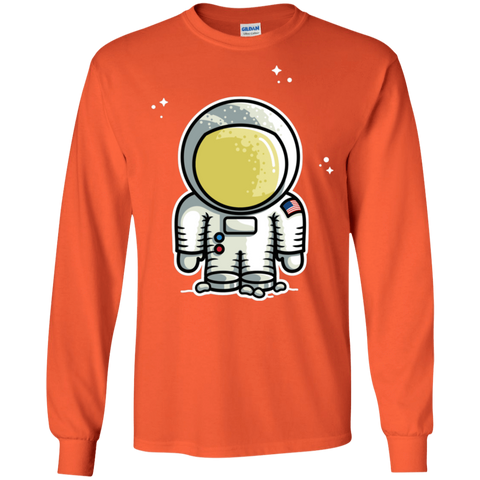 T-Shirts Orange / S Cute Astronaut Men's Long Sleeve T-Shirt