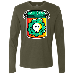 T-Shirts Military Green / S Cute Skull In A Jar Men's Premium Long Sleeve