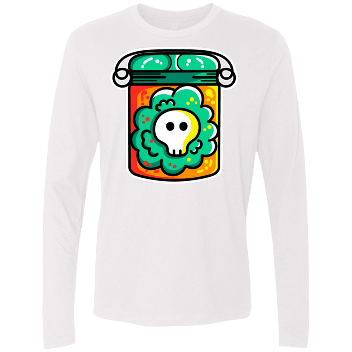 T-Shirts White / S Cute Skull In A Jar Men's Premium Long Sleeve