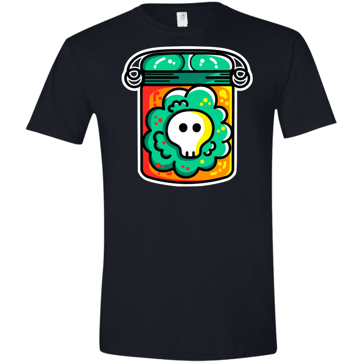 T-Shirts Black / X-Small Cute Skull In A Jar Men's Semi-Fitted Softstyle