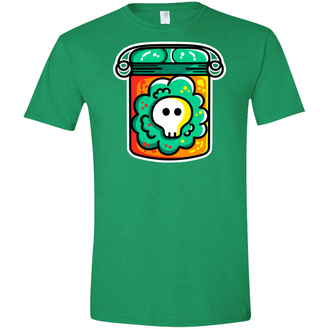 T-Shirts Heather Irish Green / M Cute Skull In A Jar Men's Semi-Fitted Softstyle