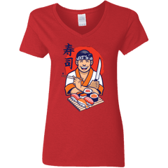 T-Shirts Red / S DANIEL SAN SUSHI Women's V-Neck T-Shirt