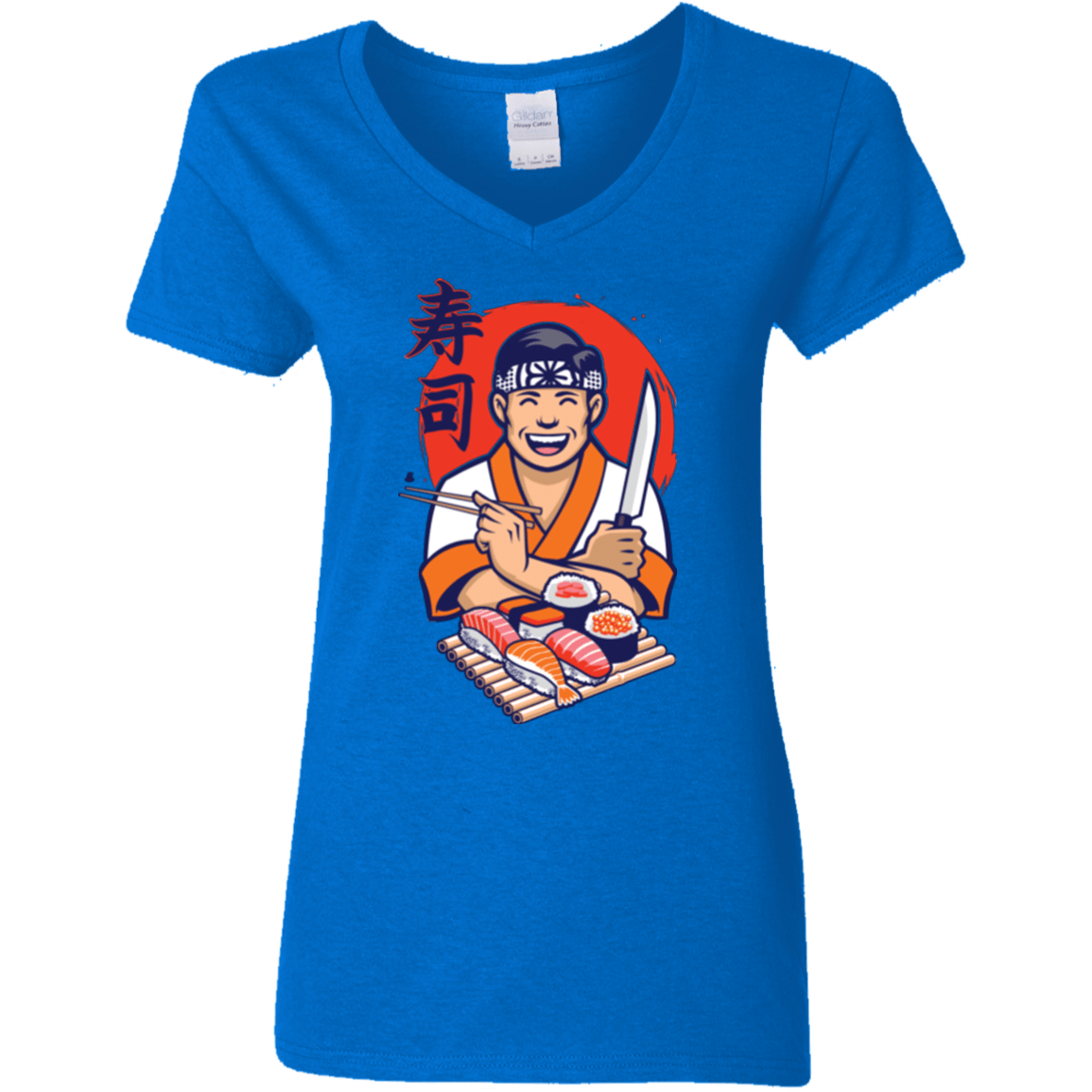 T-Shirts Royal / S DANIEL SAN SUSHI Women's V-Neck T-Shirt