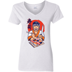T-Shirts White / S DANIEL SAN SUSHI Women's V-Neck T-Shirt