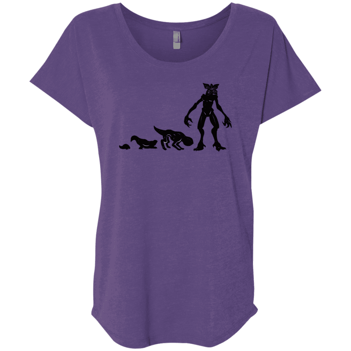 T-Shirts Purple Rush / X-Small Demogorgon Evolution Triblend Dolman Sleeve