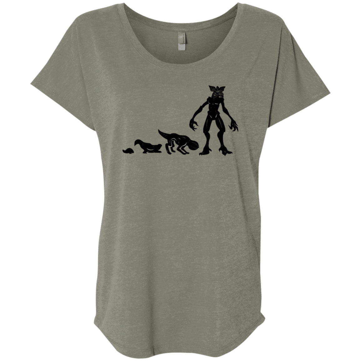 T-Shirts Venetian Grey / X-Small Demogorgon Evolution Triblend Dolman Sleeve