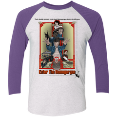 T-Shirts Heather White/Purple Rush / X-Small Enter the Dragon Men's Triblend 3/4 Sleeve