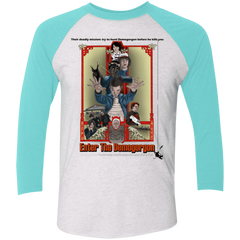 T-Shirts Heather White/Tahiti Blue / X-Small Enter the Dragon Men's Triblend 3/4 Sleeve