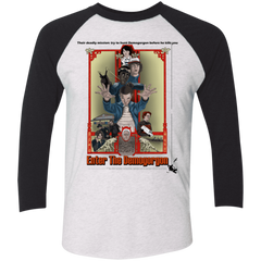 T-Shirts Heather White/Vintage Black / X-Small Enter the Dragon Men's Triblend 3/4 Sleeve
