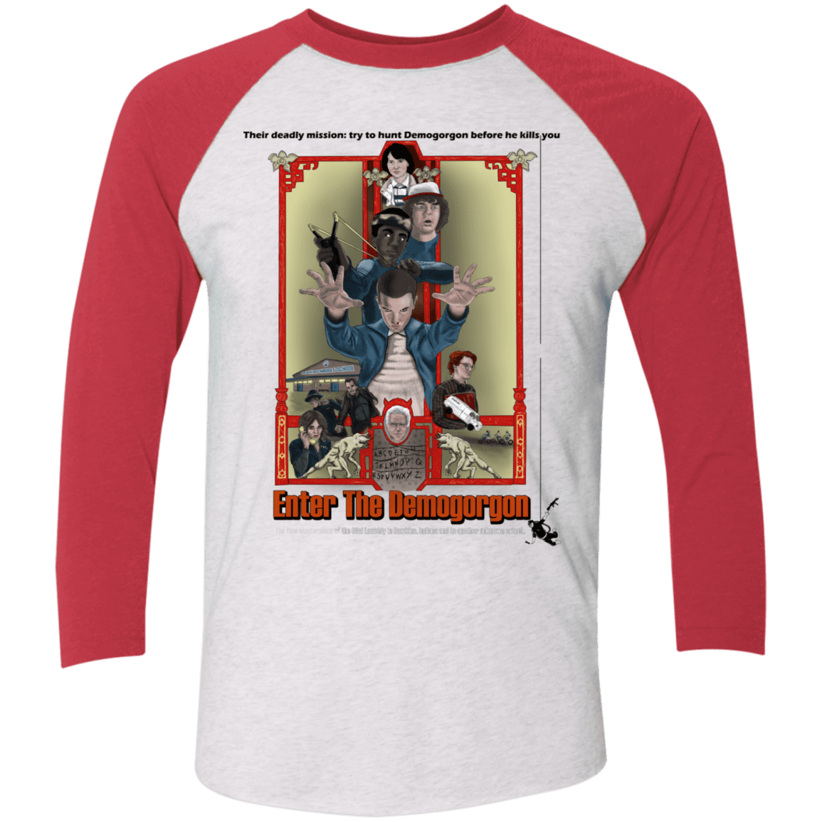 T-Shirts Heather White/Vintage Red / X-Small Enter the Dragon Men's Triblend 3/4 Sleeve
