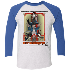 T-Shirts Heather White/Vintage Royal / X-Small Enter the Dragon Men's Triblend 3/4 Sleeve