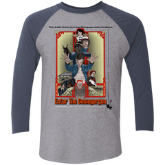 T-Shirts Premium Heather/Vintage Navy / X-Small Enter the Dragon Men's Triblend 3/4 Sleeve