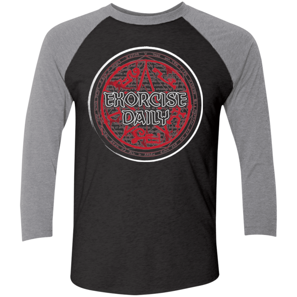 T-Shirts Vintage Black/Premium Heather / X-Small Exorcise Daily Men's Triblend 3/4 Sleeve