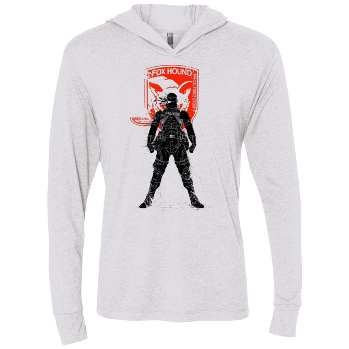 T-Shirts Heather White / X-Small Fox Hound (1) Triblend Long Sleeve Hoodie Tee