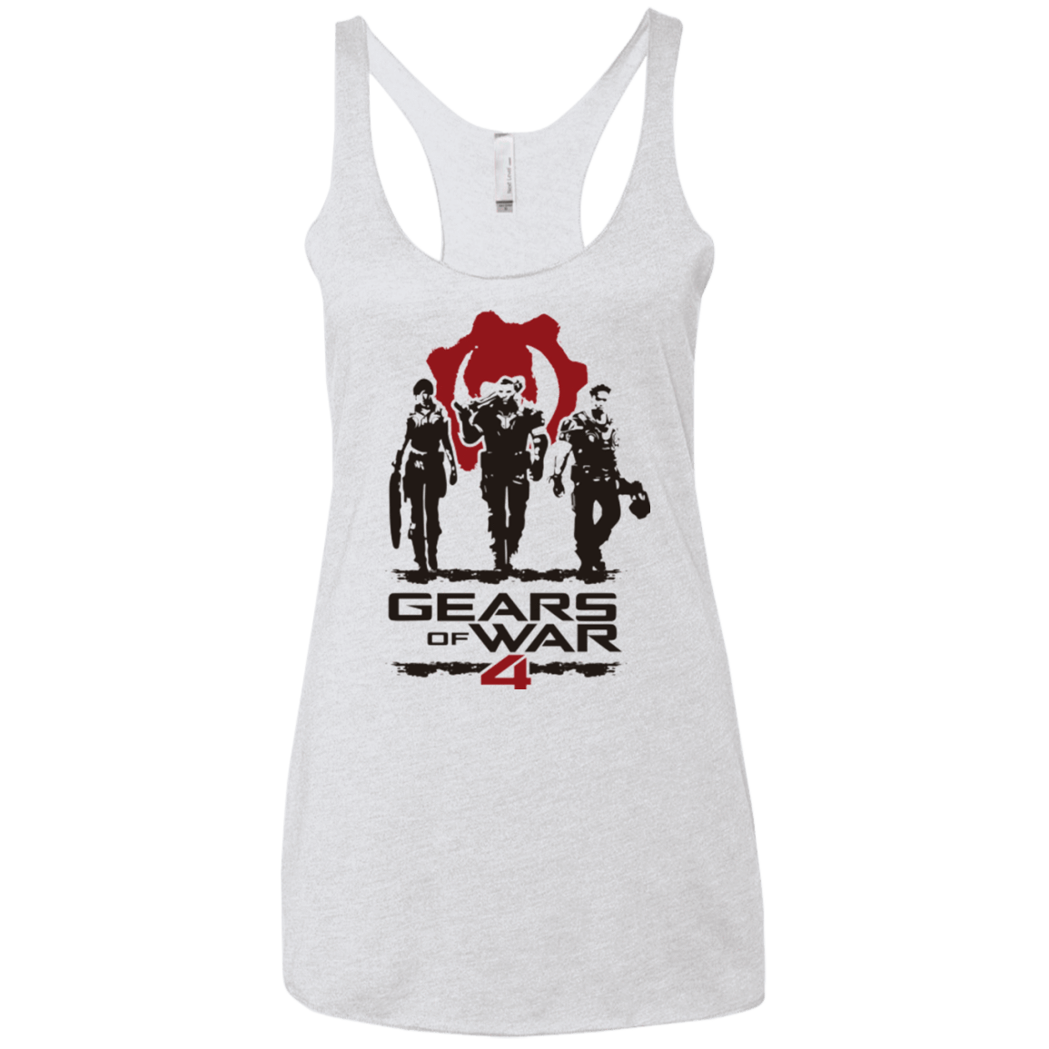 Gears Of War 4 White Women's Triblend Racerback Tank