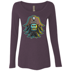 T-Shirts Vintage Purple / S Ghost Pirate LeChuck Women's Triblend Long Sleeve Shirt
