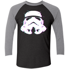 T-Shirts Vintage Black/Premium Heather / X-Small Glitch Trooper Men's Triblend 3/4 Sleeve