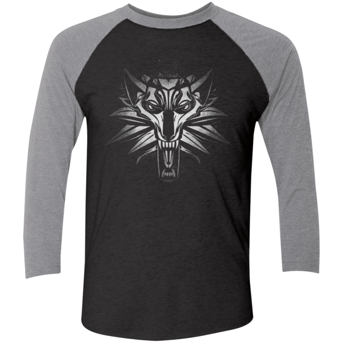 Graffiti White Wolf Men's Triblend 3/4 Sleeve