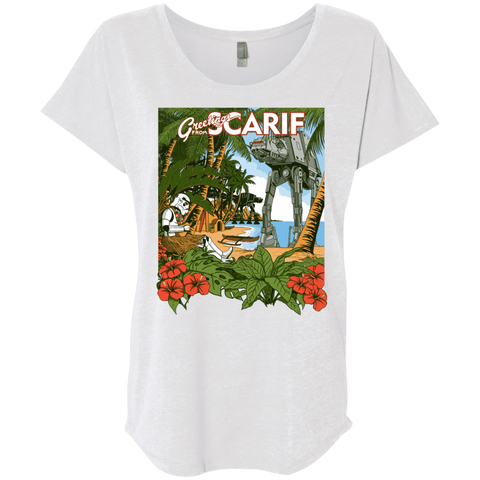 T-Shirts Heather White / X-Small Greetings from Scarif Triblend Dolman Sleeve