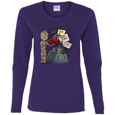 T-Shirts Purple / S Groot No Touch Women's Long Sleeve T-Shirt