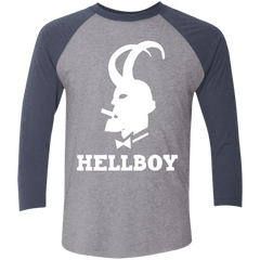 T-Shirts Premium Heather/ Vintage Navy / X-Small Hellboy Men's Triblend 3/4 Sleeve