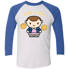 T-Shirts Heather White/Vintage Royal / X-Small Hello Pretty Triblend 3/4 Sleeve