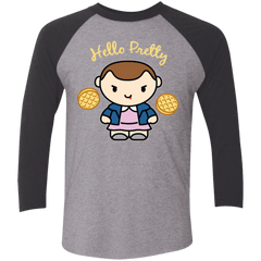 T-Shirts Premium Heather/ Vintage Black / X-Small Hello Pretty Triblend 3/4 Sleeve