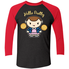 T-Shirts Vintage Black/Vintage Red / X-Small Hello Pretty Triblend 3/4 Sleeve