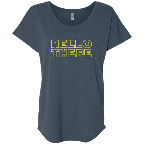 T-Shirts Indigo / X-Small Hello There Triblend Dolman Sleeve