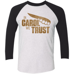 T-Shirts Heather White/Vintage Black / X-Small In Carol We Trust Triblend 3/4 Sleeve