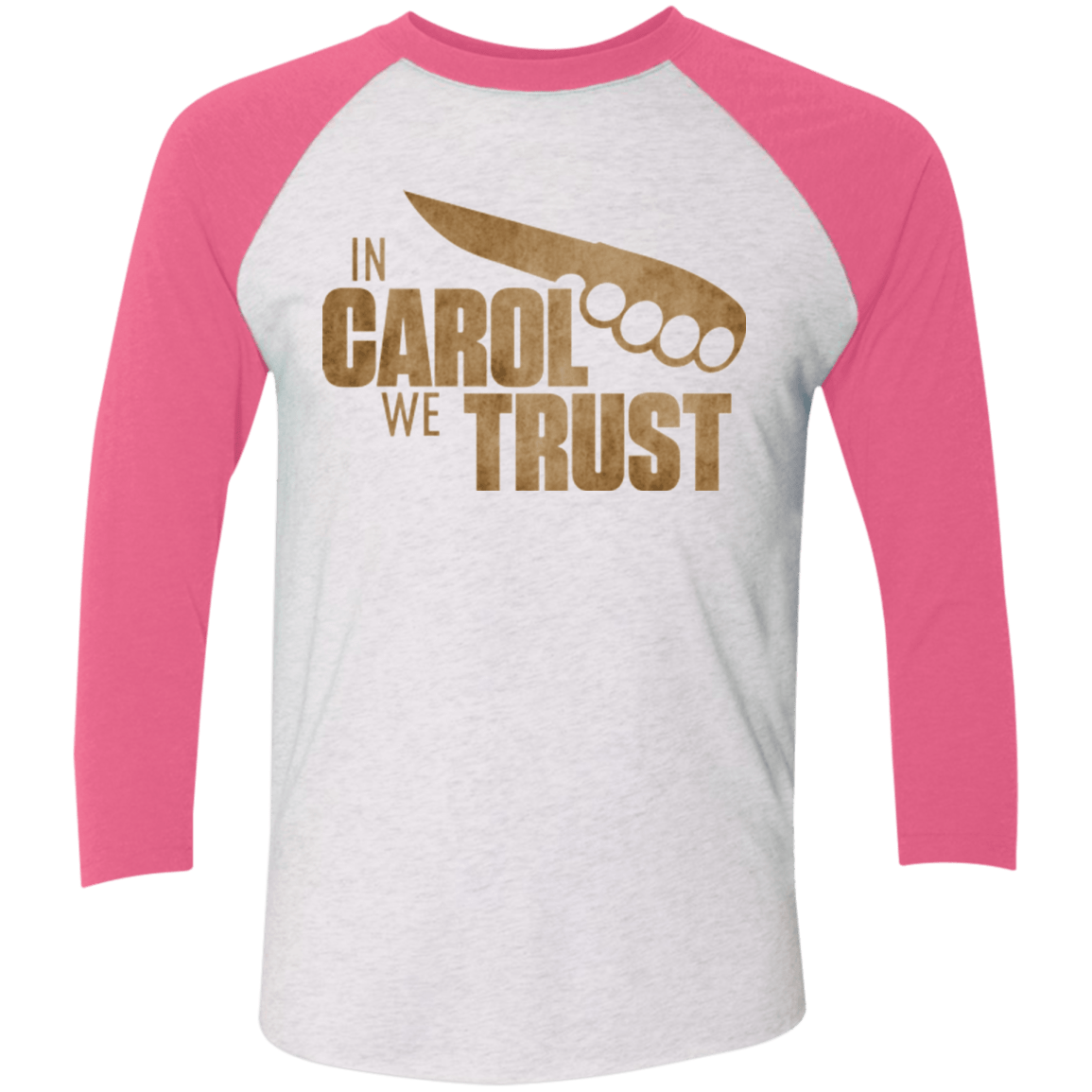 T-Shirts Heather White/Vintage Pink / X-Small In Carol We Trust Triblend 3/4 Sleeve