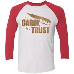 T-Shirts Heather White/Vintage Red / X-Small In Carol We Trust Triblend 3/4 Sleeve