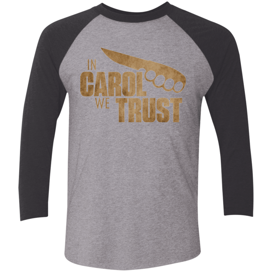 T-Shirts Premium Heather/ Vintage Black / X-Small In Carol We Trust Triblend 3/4 Sleeve