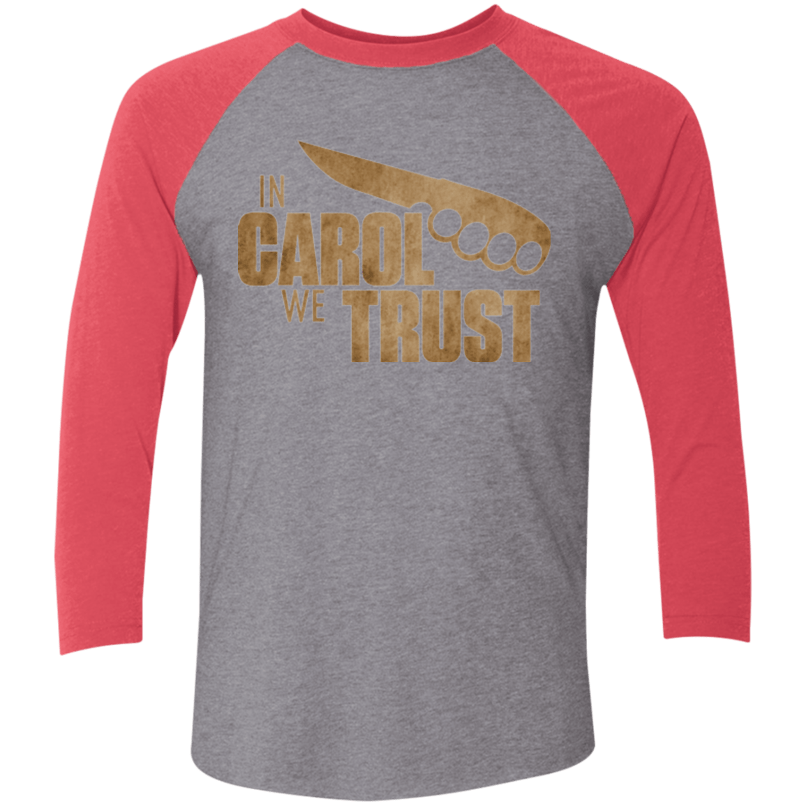 T-Shirts Premium Heather/ Vintage Red / X-Small In Carol We Trust Triblend 3/4 Sleeve