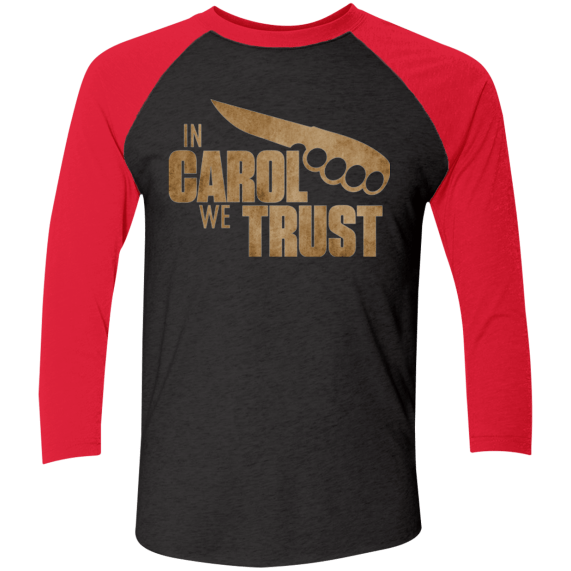 T-Shirts Vintage Black/Vintage Red / X-Small In Carol We Trust Triblend 3/4 Sleeve