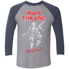 T-Shirts Premium Heather/ Vintage Navy / X-Small Iron Throne Men's Triblend 3/4 Sleeve