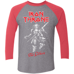 T-Shirts Premium Heather/ Vintage Red / X-Small Iron Throne Men's Triblend 3/4 Sleeve
