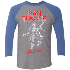 T-Shirts Premium Heather/ Vintage Royal / X-Small Iron Throne Men's Triblend 3/4 Sleeve
