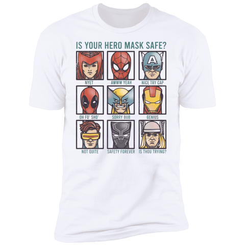 T-Shirts White / S Is Your Hero Mask Safe Men's Premium T-Shirt