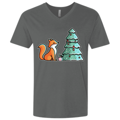 T-Shirts Heavy Metal / X-Small Kawaii Cute Christmas Fox Men's Premium V-Neck