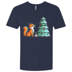 T-Shirts Midnight Navy / X-Small Kawaii Cute Christmas Fox Men's Premium V-Neck