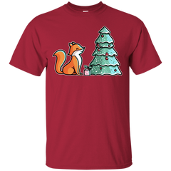 T-Shirts Cardinal / S Kawaii Cute Christmas Fox T-Shirt