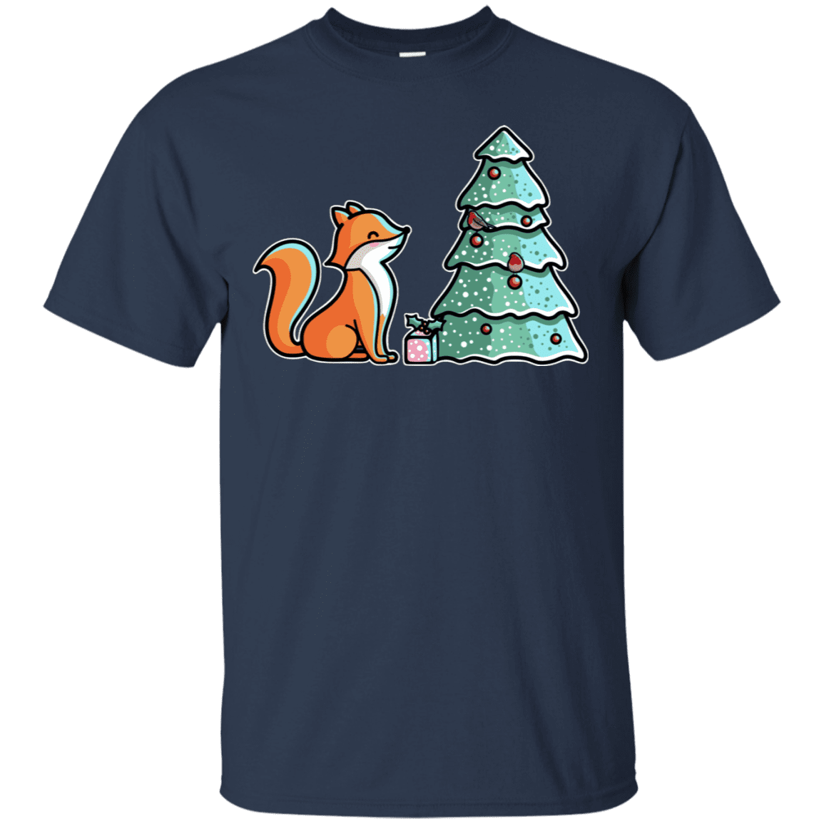 T-Shirts Navy / S Kawaii Cute Christmas Fox T-Shirt